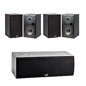 Kit 5.0 Caixas Acústicas Polk Audio Para Home Theater - 01 Central T30 + 04 Bookshelf T15