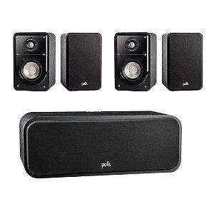 Kit 5.0 Caixas Acústicas Polk Audio Para Home Theater - 01 Central S30 + 04 Bookshelf S15