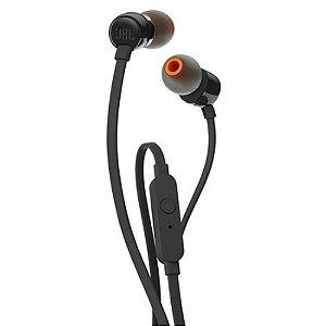 Fone De Ouvido JBL T110 In-Ear Pure Bass Com Microfone Preto