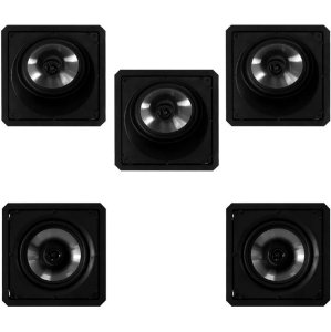 Kit Home Theater Loud Silver - 3 Arandelas Quadradas SL6 120W BL + 2 Arandelas Quadradas SQ6 120W BL