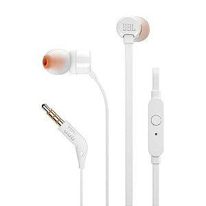 Fone De Ouvido JBL T110 In-Ear Pure Bass Com Microfone Branco