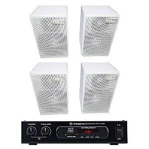 Kit Amplificador Compact 400 Hayonik + 4 Caixas Acústicas CSR 75M Passivas 160W Rms + Brinde