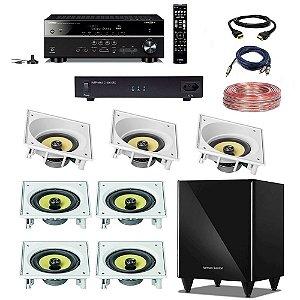 "Kit Home Theater Completo 7.1 110V - Subwoofer Harman HKTS 210 8"" + Receiver Yamaha RX-V585 + C1000-SRX Engeblu + Arandelas JBL CI8SA CI8S + Cabos"