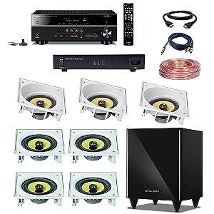 "Kit Home Theater Completo 7.1 220V - Subwoofer Harman HKTS 210 8"" + Receiver Yamaha RX-V585 + ST1000-ATX Engeblu + Arandelas JBL CI8SA CI8S + Cabos"