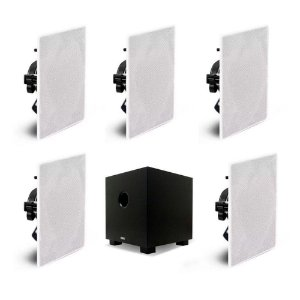 Kit Home Theater 5.1 AAT - 5 Arandelas Quadradas NQ6-100 + 1 Subwoofer Compact Cube 8""