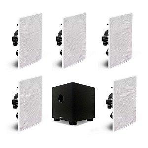 "Kit Home Theater 5.1 AAT - 5 Arandelas Quadradas NQ6-M100 + 1 Subwoofer Compact Cube 8"""