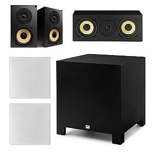 "Kit Home Theater 5.1 AAT - 2 Caixas Acústicas Rakt BSF-70 + 1 Rakt C-140 + 2 Arandelas NQ6-M100 + 1 Subwoofer Compact Cube 10"""