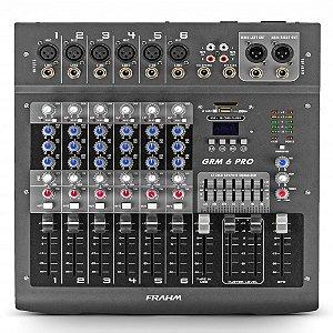 Mesa de Som Mixer Frahm GRM 6 PRO USB - 6 Canais