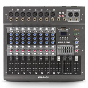 Mesa de Som Mixer Frahm GRM 8 PRO USB - 8 Canais