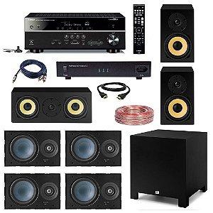 "Kit Home Theater Dolby Atmos Completo 5.1.2 220V - AAT Cube Rakt 10"" + Yamaha RX-V585 + Engeblu ST1000-ATX + 4 AAT LR-E100 + 2 AAT Rakt BSF-70 + AAT Rakt C-140 + Cabos"