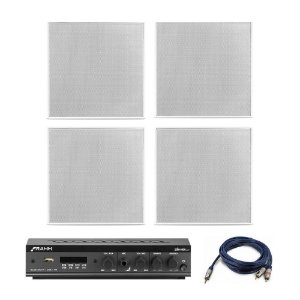 "Kit Amplificador Slim 800 APP Frahm + 4 Arandelas Frahm 6"" Quadradas Borderless 160W Rms + Brinde"