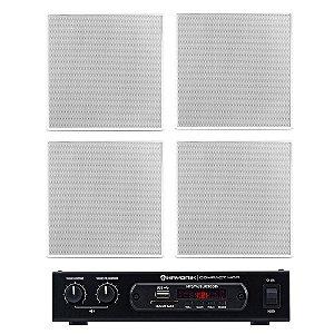"""Kit Amplificador Compact 400 Hayonik + 4 Arandelas Frahm 6"""" Quadradas Borderless 40W Rms + Brinde"""