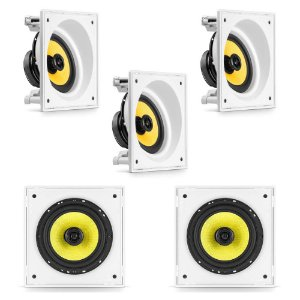 "Kit Home Theater 5.0 Frahm  - 3 Arandelas 6"" Quadradas Anguladas + 2 Arandelas 6CX 500W Rms"