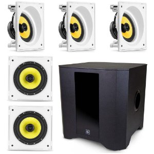 "Kit Home Theater 5.1 Frahm - 3 Arandelas 6"" Quadradas Anguladas + 2 Arandelas 6CX Retas + 1 Subwoofer RD SW 8"""