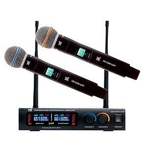 Microfone Sem Fio Duplo TSI - 1200 UHF