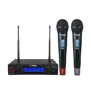 Microfone sem fio TagSound TG-8802 - Freq variável digital UHF com 2 Bastões