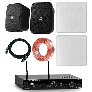 Kit Amplificador Frahm RD 240 WiFi + 2 Arandelas AAT NQ6-M100 + 2 JBL Control X + Cabo Óptico + Fio Paralelo