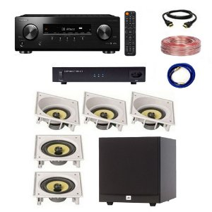 Kit Home Theater Completo 5.1 220V - Subwoofer JBL Stage A100P + Receiver Pioneer VSX-534 + ST1000-ATX Engeblu + Arandelas JBL CI6SA CI6S + Cabos