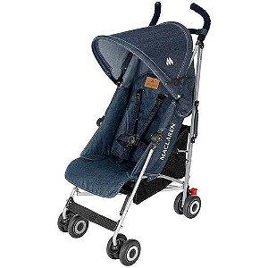 Carrinho De Bebê Passeio Maclaren Quest Denim Indigo Jeans 4 Posições