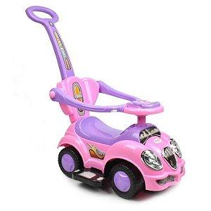 Carrinho Infantil C/ Haste Cute Car -  Fusca Rosa UniToys