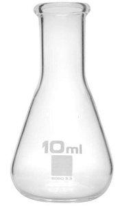 Frasco Erlenmayer de vidro borosilicato 3.3, graduado, boca estreita, capacidade: 10ml