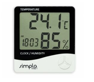 Termo-Higrômetro; Faixa de medição: -50 à 70ºC, 10 a  99%UR; Simpla - TH01