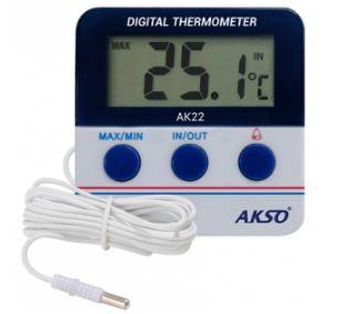 Termômetro com Alarme para Freezer / Geladeira; Faixa de medição: -20 a 70°C (ambiente), -50 a 70°C (sonda); AK22