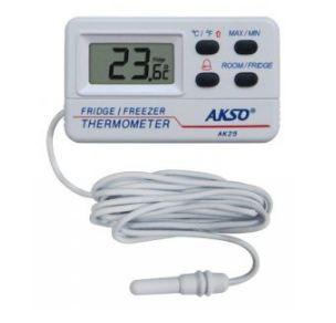Termômetro para Freezer e Geladeira; Faixa de medição: -10 a 50°C (sensor interno); -50 a 70°C (sonda externa); AK25
