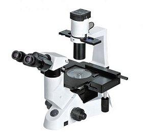 Microscópio Binocular biológico Invertido; Halogênio; Ótica Infinita e Contraste de Fases Lentes Planacromáticas