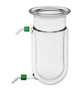 Reator cilindrico encamisado de vidro borosilicato, com flange tipo O-Ring; 02 olivas