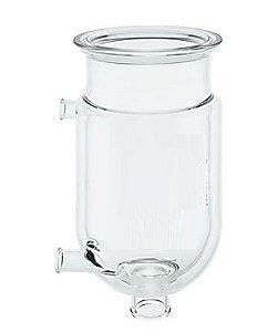 Reator cilindrico encamisado de vidro borosilicato, com flange tipo O-Ring; 02 saídas