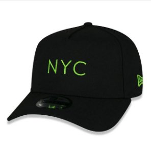 Boné New Era Simples Signature Fluor NYC New York City Preto e Verde