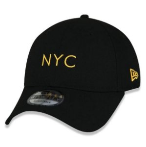 Boné New Era Aba Curva 920 Simple Fluor NYC - Preto e Laranja