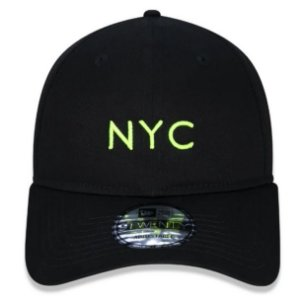 Boné New Era Aba Curva 920 Simple Fluor NYC - Preto e Amarelo