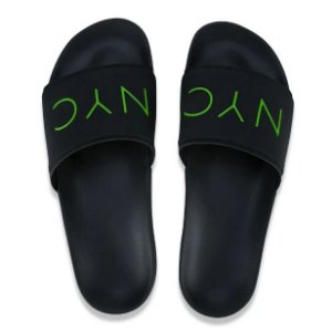Chinelo New Era Slide NYC Original - Verde e Preto