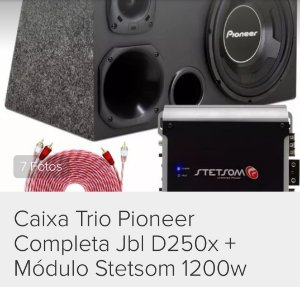 Caixa Trio Pioneer Completa Jbl D250x + Módulo Stetsom 1200w
