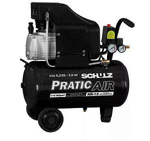 Compressor De Ar 8,2pés 2hp 25 Litros Pratic Air Schulz