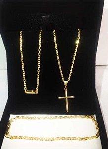 Kit Cartier banhada ouro 18k  corrente 60 cm + pulceira
