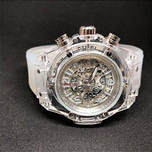 Relógio Hublot Transparente Com Prata