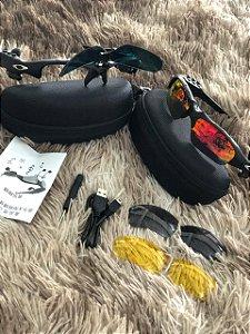 Óculos Oakley Trump Vermelha Mp3 Bluetooth + 3 Lentes Frete Grátis
