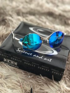Óculos Oakley Tailend Lente Azul Bebe Armação Prata Frete Grátis
