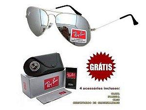 Óculos Rayban Aviador lente Prata Espelhado Frete Grátis