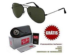 Óculos Rayban Aviador lente Preta Frete Grátis