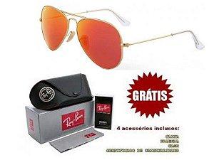 Óculos Rayban Aviador lente Vermelha Frete Grátis