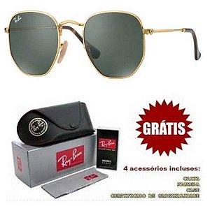 Óculos Rayban Hexagonal lente Preta Armação Dourada Frete Grátis