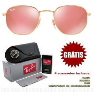 Óculos Rayban Hexagonal lente Rosa Espelhada Frete Grátis