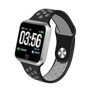 Relógio Smartwatch Esportivo Preto Com Cinza Frete Gratis