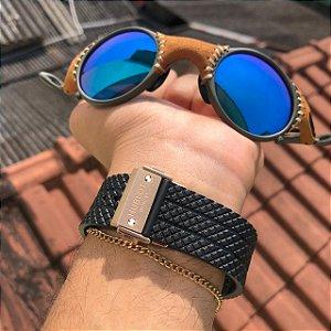 Óculos Oakley Mars Azul Detalhes Em Couro Armação X-Metal Frete Grátis