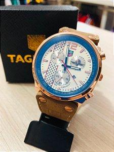 Relógio TAG Heuer Puleira De Couro Fundo Branco Frete Gratis