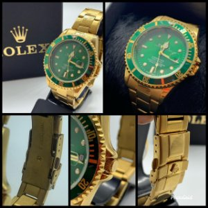 Relógio Rolex Submariner Dourado Fundo Verde Frete Gratis
